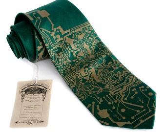 Circuit Board Necktie. Emerald green Short Circuit silk tie. Tech guy gift, science tie. Silkscreened men's necktie. Computer science gift.