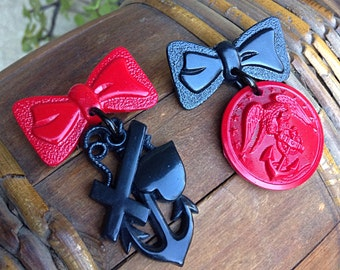 WWII Vintage Inspired Sweetheart Brooches - Novelty Pin - Bow Anchor Heart Eagle Sailor - Nautical Navy Military Service - Faith Hope Love