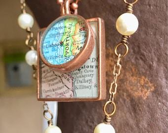 "BridesMaids Special Gift:  Map Pendants Custom ""GirlFriend Gift"" Set"