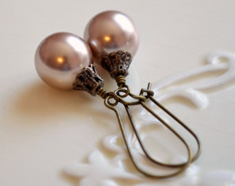 Taupe Christmas Earrings, Antiqued Brass Bronze, Large Glass Pearl, Kidney Earwires, Ball Ornament, Light Tan, Fun Holiday Jewelry