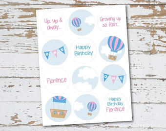 Personalised Hot Air Balloon Birthday Mini Sticker Sheet