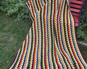 Vintage Hand Crochet Multi Colored Afghan or Lap Throw with Fringe