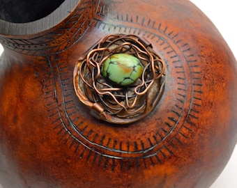 Gourd Decorated Turquoise Bead Wired Design
