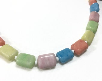 Art Deco Glass Necklace   Solid Pastel Coloured Glass   Single Strand Harlequin Multi Colour Beaded Necklace