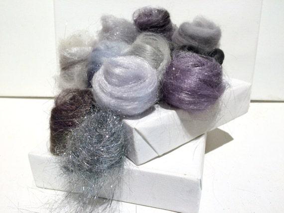 Silver Fiber Art kit Sampler, wool Angelina firestar, Felting Spinning, blending board fiber, Silver palette,Silver roving, Saori Weaving