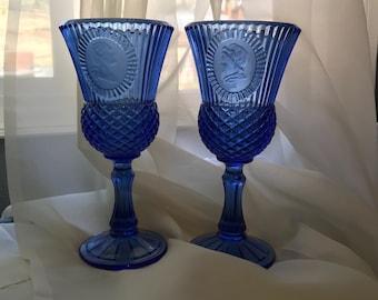 Vintage Cobalt Blue Glass Goblets George and Martha Washington Avon Fostoria Bicentennial Americana Patriotic - Set of 2, Item #571682601