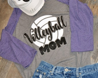 Volleyball Mom Shirt, Glitter Volleyball Raglan, Custom Volleyball Shirt, Volleyball Bling Shirt, Love Volleyball,  VBall Mom Shirt