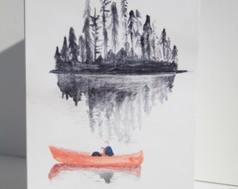 Greeting card featuring my original watercolour painting- couple in canoe