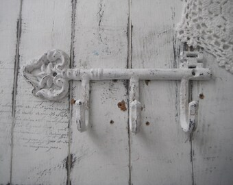 cottage chic aged white key hook antiqued weathered leash hook scarf hook belt holder shabby decor clothing hook french country wall hook