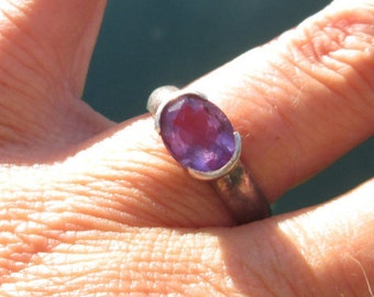 Amethyst and Sterling Silver Ring Size 7.25