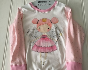 Fairy print top, long sleeve girls top, Ready to post, size 3 years, size 4 years, sparkly top,