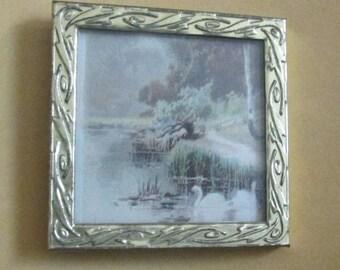 doll house miniature framed photo swans