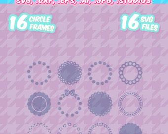 Scalloped Circles svg, monogram frames svg, Set 1, screen printing, SVG, DXF, EPS, Cut File, Silhouette, Die Cut, Cricut, Vinyl Cutters
