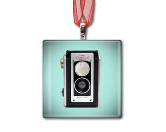 Kodak Duaflex II Camera - Handmade Glass Photo Ornament