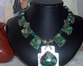Stunning Southwest Green Sea Jasper Cleo Necklace