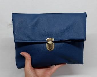 Blue Fold Over Clutch, Vegan Clutch bag, Fold Over Purse, Blue Faux Leather, Blue clutch, Fold Over clutch, Vegan Bag