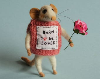 Needle felted Mouse - born to be loved. Gift. Felted ornament. Baby shower gift. Nursery. Cake topper. Felted mice. Dollhouse mouse. dressed
