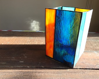 Large Handmade Stained Glass Candle Holder, Green, Pink, Blue, Orange