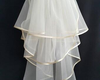 Ivory Wedding Veil, Three Layers