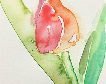 Postcard, tulip, flower, original watercolor, handmade, flora art, gift for special one