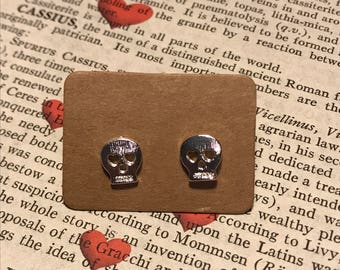 Skull Stud Earrings Silver Plated
