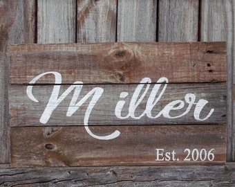 Last Name Sign Wood Sign Rustic Family Name Sign Last Name Established Sign Personalized Wedding Gift Barn Wood Signs