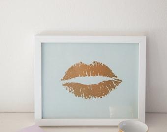 Lippy Lippy Gold Foil and Mint Lip Print 8x10, Home Decor, Artwork, Wall Art, Valentines Day, Gallery Wall, Letterpress