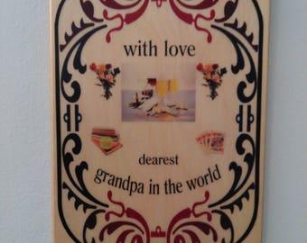 Wood plaque best grandpa - home decor dearest grandpa