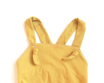 Baby Girl Romper Mustard Yellow Summer Outfit