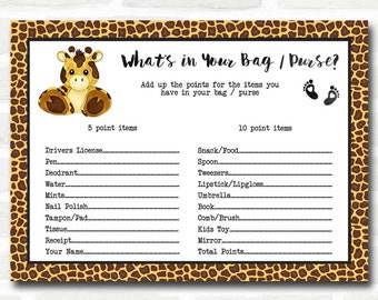 Baby Shower Games Giraffe Animal Print What's in Your Bag Purse Cards