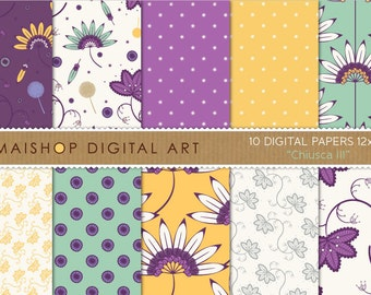 Digital Paper Floral 'Chiusca III' Purple, Yellow, Green - Instant Download Patterned Papers for Scrapbook, Decoupage...