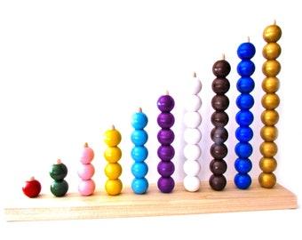 Montessori Style Preschool Bead Stairs Stacker 1 inch beads - Abacus Learn Math Bead Stacker - MDH Toys Montessori Style Bead Stair Stacker
