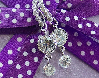CZ Earrings, Crystal Dangle Earrings, Wedding Earrings, Bridal Earrings, April Birthstone Earrings, CZ Pendant Earrings, Halo Set Crystals