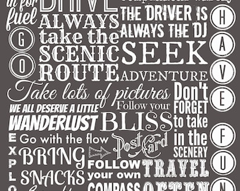 Road Trip Rules, Instant Download, Printable Art, Typography Print, Travel Poster, Wanderlust Art, Inspirational Quote,  Adventure Print,DIY