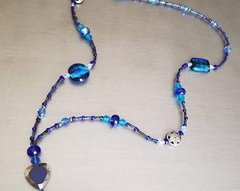 Gorgeous blue beaded lanyard