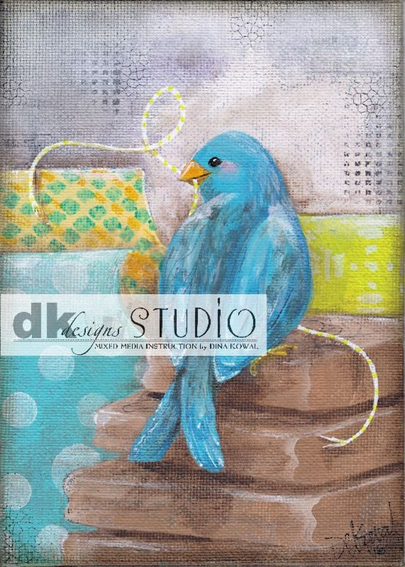 """She Stamps -  5""""x 7"""" print - bird in craft  supplies"""