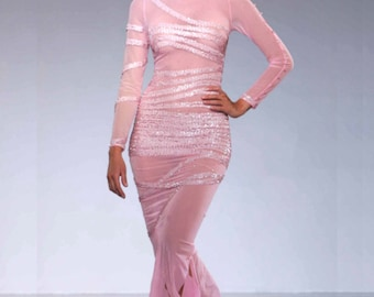 Couture Gown with Light Pink Strech net