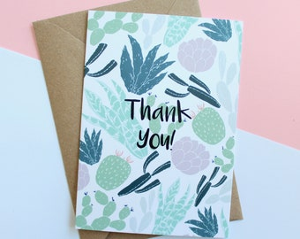 Cacti Thank you, A6 Greeting card