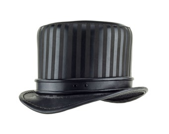 """Leather Circus Steampunk Top Hat """"Baron"""" Black - Steampunk Hat - Circus Top Hat - Steampunk Tophat - Stovepipe Hat - Rolled Edge Band"""