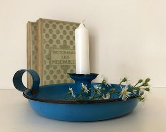 Rustic vintage blue enamel candle holder,french candle holder , vintage candle holder, blue enamel
