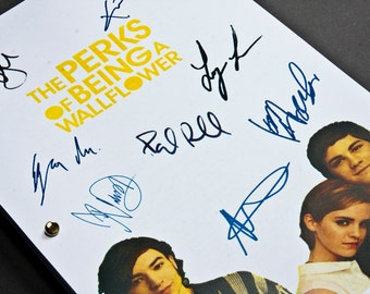 The Perks of Being a Wallflower Film Movie Script with Signatures / Autographs Reprint Unique Gift Screenplay Present Geek Emma Watson