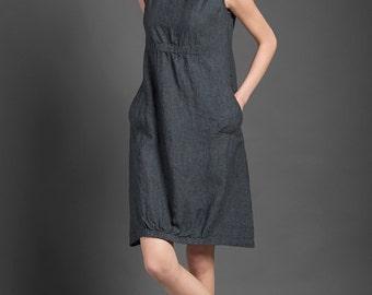 Pure linen dress, dark gray dress for summer, woman dresses for summer, midi dress, linen clothing, linen clothes, summer fashion, organic