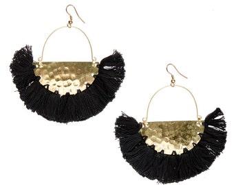 CLEARANCE SALE Black Gold earrings,Half moon earrings-Black Tassel earrings,festival jewelry-fringe earrings-Boho-Bohemian Gypsy-Coachella