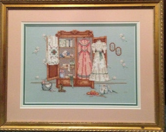 Victorian Armoire Framed Cross Stitch