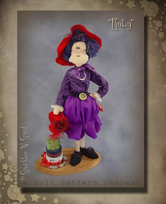 "Pattern: Ruby- 25"" Red Hat Lady"