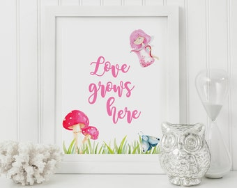 Love Grows here,Family Quote,Home Prints,Nursery Print,Little fairy,Calligraphy Decor,Native Decor,Watercolor Print,Love Sign,Love Art Print