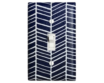 Herringbone Light Switch Plate Cover / Navy Blue and White Bedroom Decor / Chevron / Single Toggle