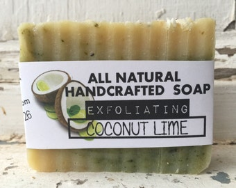 Handcrafted All Natural Coconut Lime Soap Exfoliating