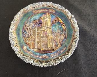 Fenton Carnival Glass Christmas in America Plate 1978 No. 9 Church Holy Trinity