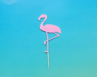 Flamingo cupcake toppers -set of 12-glitter-birthday-wedding-baby shower-bridal shower-summer party-bachelorette-tropical